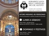 HORARIOS DE MISAS Y VISITA BASÍLICA DEL MES DE AGOSTO 2020
